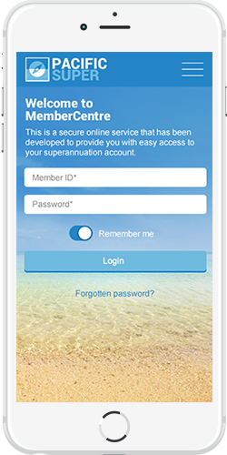 Pacific Super login page
